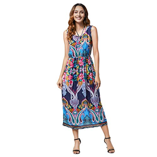 f340411f6e KIMODO Women's Dress Short Sleeve/Sleeveless Ladies Pleated Print Summer  Bohemian Basic Dress Swing Casual Midi Dress