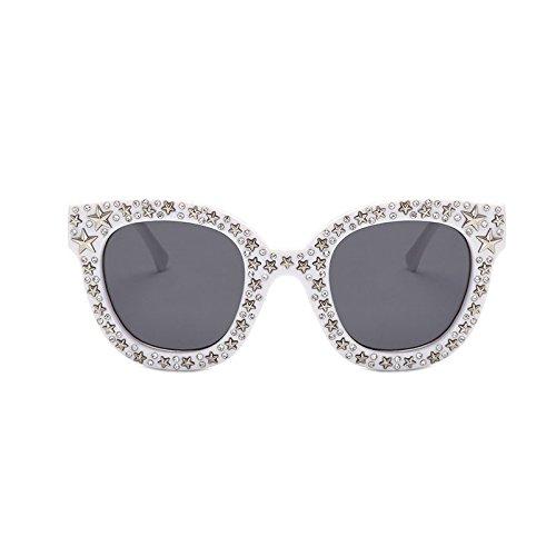 ZHANGYUSEN 2018 rosa Strass Sonnenbrille Star Frauen Unisex Braun Gläser Weiß Schwarz quadratischen Rahmen Schattierungen, Weiß-Rahmen, grau