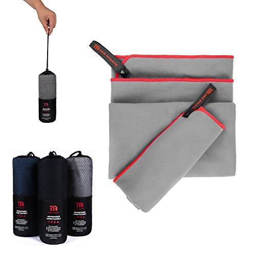 Premium Mikrofaser Handtücher im Doppelpack mit praktischer Tragetasche [140cm x 70cm & 70cm x 40cm] - Ultraleicht und schnelltrocknend - Ideal für Reisen und Sport (Zementgrau)