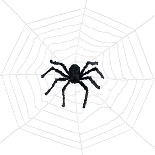 Vosarea Spinnennetz für Halloween Deko (60cm Spinne + 3,6 Meter Netz)