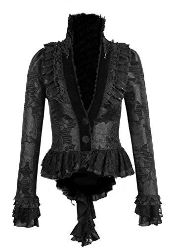 Samt kurzer Jacket Barock Kostüm Gothic Kei Punk Rave schwarz Frack Bünnenoutfit (M, schwarz) (Schwarzer Vintage Samt-blazer)