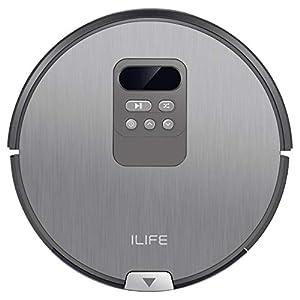 ILIFE V80 Saugroboter mit Wischfunktion   intelligente Navigation   8cm flach   für alle Böden   über 2 Stunden Laufzeit   2in1 nass Wischen oder Staubsaugen   automatischer Staubsauger Roboter