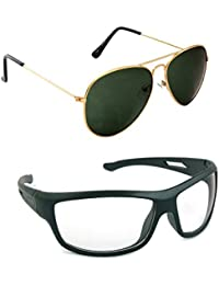 Magjons Fashion Combo Of Gold Green Aviator And Night Driving Sunglasses
