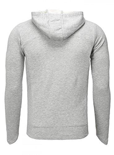 Akito Tanaka Herren Sweatjacke mit Kapuze Sweatshirt Hoodie Pullover Sweater Kapuzenpullover mit Reißverschluss Slimfit asymmetrischer Schnitt Grau