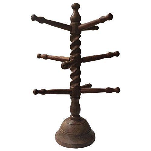 IndiaBigShop Holz Handmade 9 Rod Armreif Ständer mit Curl Design 13 Zoll