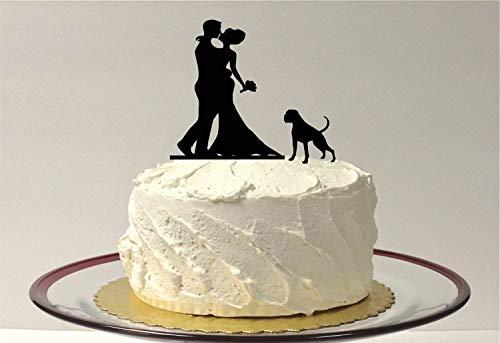 Tortenaufsatz mit Haustier Hund Hochzeit Kuchen Topper Braut Bräutigam Hund Haustier Familie von 3 Kuchen Boxer Pitbull Topper -