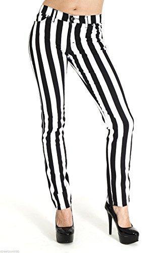 Run & Fly Neu Damen Skinny Stretch Mid-Rise schwarz und weiß 1