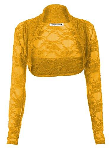 Janisramone maglia manica lunga pizzo scrollata di spalle bolero cardigan ritagliata Mostarda