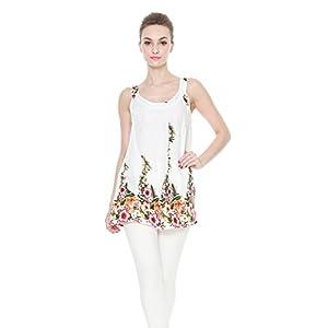 Aloha-Fashion-Mujeres-camiseta-con-capucha-floral-hawaiana-en-Blanco-con-borde-floral-XL