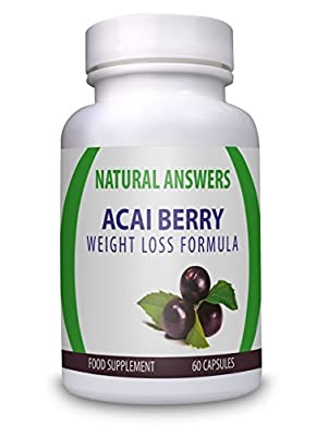 Acai Berry Weight Loss Formula by Natural Answers - High Quality Dietary Supplement - Maximum Strength Pure Acai Berry Pills - Quick Weight Loss Assistance Fat Burning Supplement - One Month Supply - Organic Antioxidant Diet Pill - Two Daily Servings To S