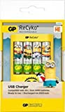 Ladegerät USB GP Batteries Batterieladegerät für AA & AAA Akkubatterien inklusive 4 Akkus ReCyko ready2use AA 2000mAh Minions Edition