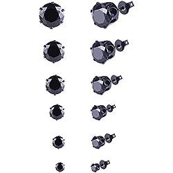 [Cadeau de la Saint-Valentin] Bliqniq Homme Femme ronde en acier inoxydable - Oxyde de zirconium - Argent Boucles d'oreilles noires Clous Lot de 6 paires, diamètre: 3-8mm