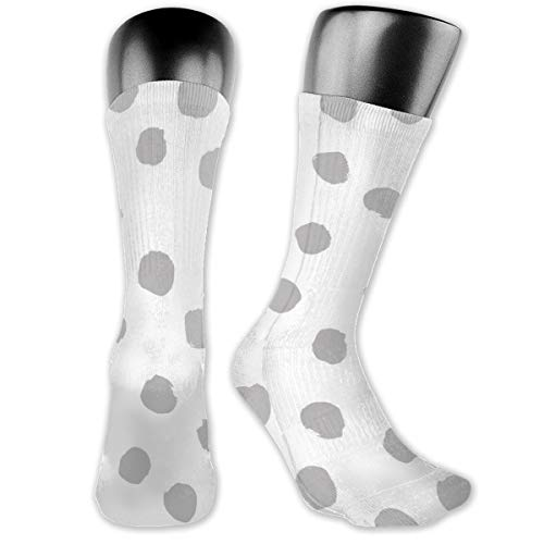 Dots Grey mal Black And White Simple Baby Nursery Spots Men's & Womens Athletic Crew Socks Running Gym Compression Foot