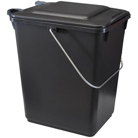 Cubo de basura SULO BIO BOY 10 L, cubo con tapa y asa metal, color negro (22274)