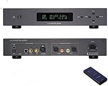 .K.S Audio MH-DA004 Dual ES9038pro Flagship DAC DSD Input Coaxial BNC AES EBU for DoP USB I2S Optical Audio Decoder Black Upgraded USB Version