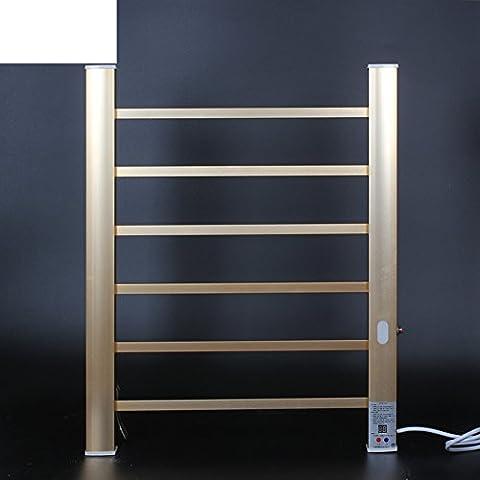 spazio alluminio elettrico portasciugamani riscaldato/Casa intelligente temperatura interna riscaldata porta asciugamani/ luce stendino-d'oro
