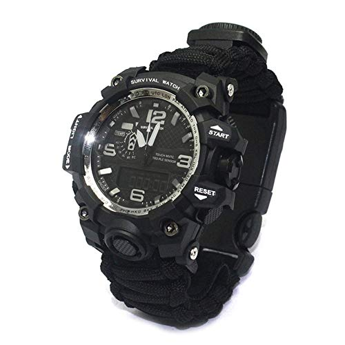 Multifunktions-Kompass leuchtende wasserdichte doppelte Bewegung Camouflage-Uhr-Black -