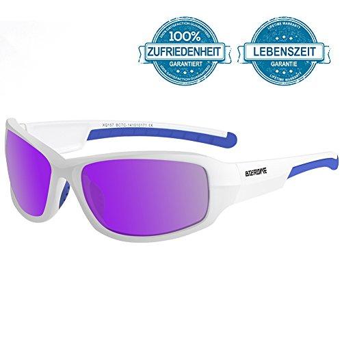 BTERDNE Sportbrille Polarisiert Fahrradbrille Sport Sonnenbrille für Herren und Damen UV400 Schutz Extra Leicht TR90 Rad Autofahren Laufen Golf Verschiedene Linsenfarben zur Wahl