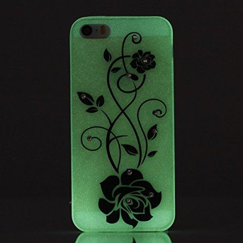 Etsue Silikon Bing Hülle für iPhone SE/iPhone 5S Night Luminous Glow TPU Case, Glitzer Sparkles Diamant Strass Bunte Blumen Schmetterling Mädchen Silikon Schutzhülle Weich Rückseite Cover Transparent  schwarz Rose Blume