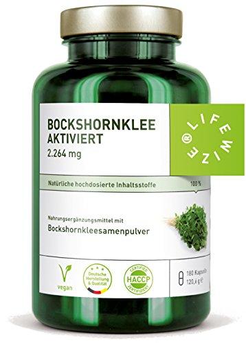 LifeWize® Bio Bockshornklee Kapseln Aktiviert – 2.600 mg Bockshornkleesamen (Fenugreek) – 180 Kapseln – Hochdosiert, Vegan & Ohne Zusatzstoffe