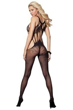 Sexy et élégant combiné-slip filet noir transparent et dentelle de Juliet's Kiss entre-jambe ouvert porte-jarretelles lingerie. Taille unique 34-40