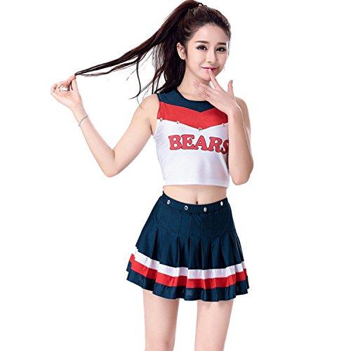 Babyicon Damen Cheerleader Kostüme Uniform Fußball Sport Verrücktes Kleid Outfit (M)