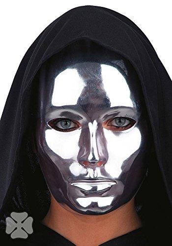 Chromfarbene Maske für Erwachsene (Silber Maske)