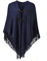 Ferand - Magnifique Cape Poncho Ouvert pour Femme, avec Boutons en Corne  Élégant, Encolure en V et… ccaf55f3163