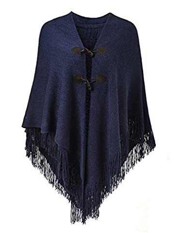 Ferand Women's Loose Fitting Poncho Cape Shawl with Stylish Horn Buttons, V Neckline and V Hem, Blue Marine - One size