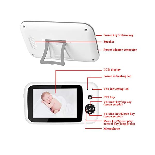"""SONEW Wireless Video Baby Monitor,3.5"""" LCD Digital Screen for Signal Transmission Support Night Vision Two-Way Talk Temperature Sensor Voice Activation Lullabies Multi-Language Sonew 【TEMPERATURE SENSOR】Constantly monitors the temperature in your baby's room and alerts you when it is too hot or too cold.When you find that the temperature of your baby's room is too high or too low, you can add a bedding or reduce the bedding to your baby in time to prevent your baby from getting sick due to temperature. 【TWO-WAY TALK】Built-in advanced microphone and speaker for clear two-way audio conversations. Not only can you see what's happening, but also send voice commands, and talk with your little one. Transmitting distance is up to 1,000 ft.Parents must hope to witness each stage of their child's growth. Talking is a very important stage. With this product, you can communicate with your baby at any time, hear your baby's voice, and witness your baby's growth. 【SOUND-ACTIVATED LED LIGHTS 】Allows you to see how much noise your baby is making in case he/she is crying.You must hope to stay with your baby all the time, but because of work or some other reason, you may not be able to stay with your baby all the time, but with this product, you can observe every detail of the baby, once the baby is crying You can find it by activating the LED light. 9"""