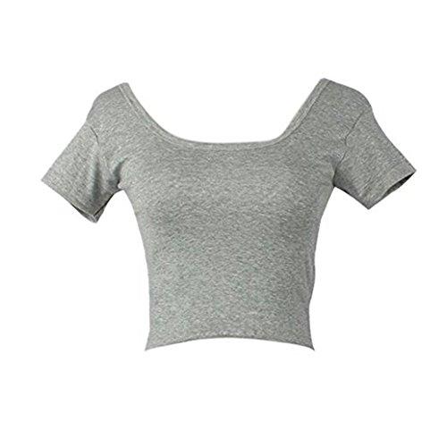 Shirt Schwarz Damen Kurzarm, Ulanda Teenager Mädchen Bauchfrei Sport Crop Top T-Shirt Basic Hemd Oberteile Tops Bluse (Grau)
