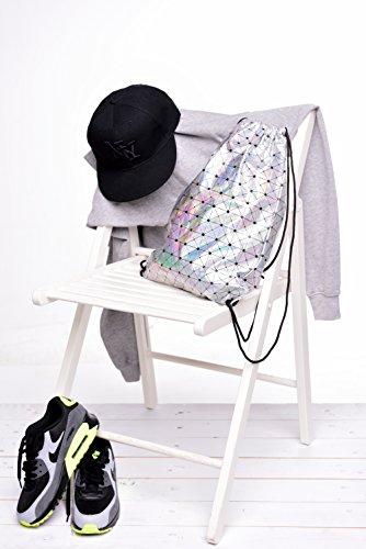 Fringoo ,  Herren Mädchen Unisex Erwachsene Damen Unisex Kinder Rucksackhandtaschen Holographic Trinagles - Drawstring