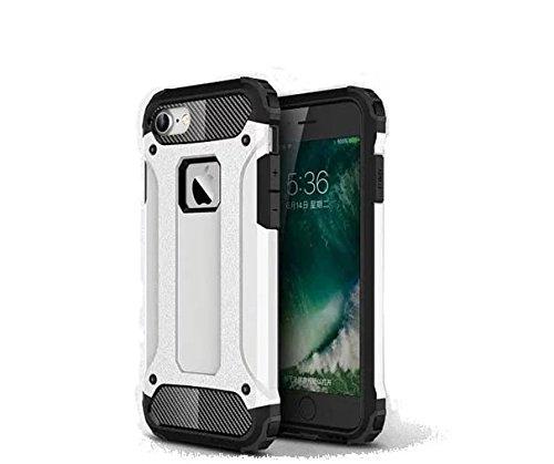 iPhone 7 Coque,Lantier Hybrid PC double couche+TPU Anti-Drop antichoc Cool design Etui rigide robuste robuste Lumière mince Armure pour Apple iPhone 7 (4,7 pouces) Silver White