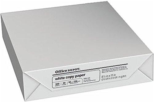 Office Depot Copy Fax Laser Inkjet Drucker Papier, 81/5,1x 27,9cm Buchstabe Größe, 20lb., 92US/105Euro Bright Weiß, säurefrei, Ries, 500Blatt (273646/Ries) (Drucker Papier Ries)