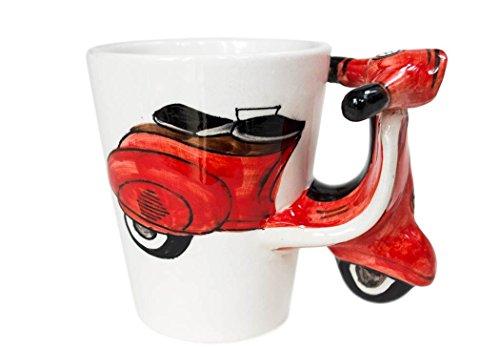 Vespa Kaffeetasse handgefertigt Keramik Rot 225g (10cm x 8cm) Rote Keramik
