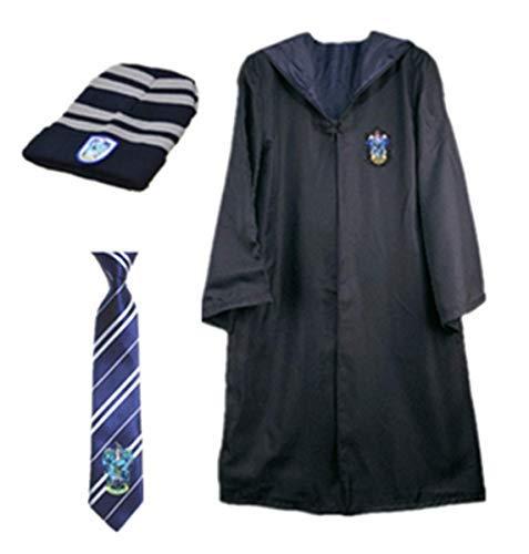 chsene Umhang Kostüm Für Harry Potter,Fancy Dress Cosplay Outfit Set Zauberstab Krawatte Schal Brille Hut Hemd Rock Karneval Verkleidung Fasching Halloween 105-185 ()