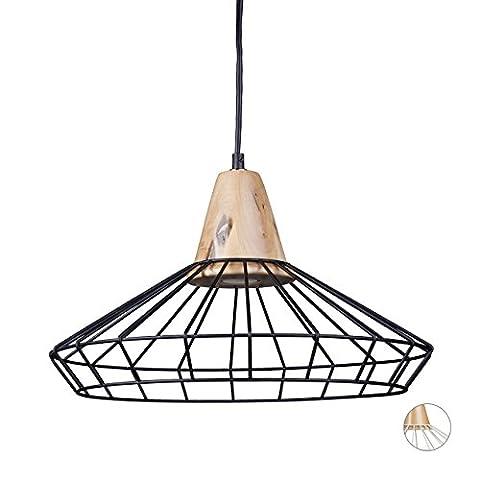 Relaxdays Lampe à suspension GRID optique cage grille design retro métal et bois lampe de plafond luminaire HxlxP: 110 x 40 x 40 cm- bronze