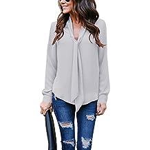 Helury Bluse Damen, Chiffon Elegant Bluse Hemd Aus Fließendem Stoff Leicht Langarmshrit V-Ausschnitt T-Shirt für Alltag Muttertag Geschenk