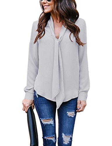 Helury Bluse Damen, Chiffon Elegant Bluse Hemd Aus Fließendem Stoff Leicht Langarmshrit V-Ausschnitt T-Shirt für Alltag Muttertag Geschenk (Grau, M)