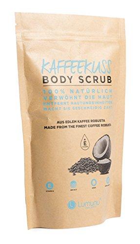 Deluxe Körper-Peeling KAFFEEKUSS (250g), 100% natürliches Kaffee Body-Scrub mit reichhaltigem Kokosöl & Avocadoöl, vegan & tierversuchsfrei