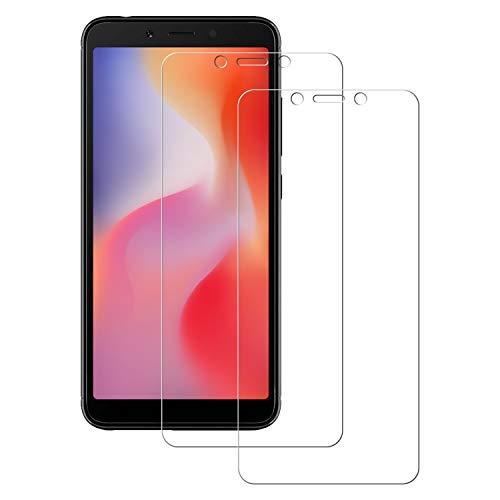 POOPHUNS 2 Stück Panzerglas Schutzfolie kompatibel mit Xiaomi Redmi 6A, Gehärtetes Glas Bildschirmschutzfolie mit 9H Härte, HD Ultra Klar, Anti-Kratzen, Anti-Öl, Bildschirmschutz Folie für Redmi 6A