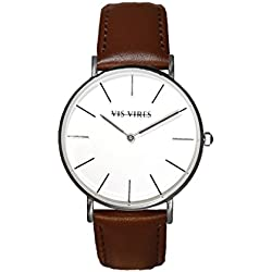 Vis Vires Mens Silver Chesterfield Timepiece 40mm