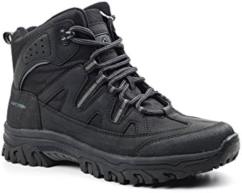 letoon Hombre Calzado Botas Botas de senderismo Montaña Outdoor botas de trabajo (Trekking, negro, 43