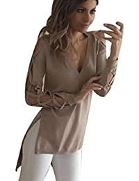 Tops, FEITONG Femmes Chemises Casual Shirt Club Sexy Creux Manches Blouse