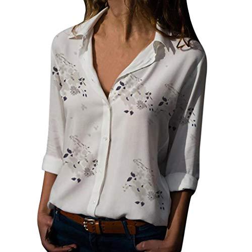 Freizeithemd Bluse Tees Damen Plus Size Loose Print V-Ausschnitt Print Button Bluse Pullover Tops Shirt ()