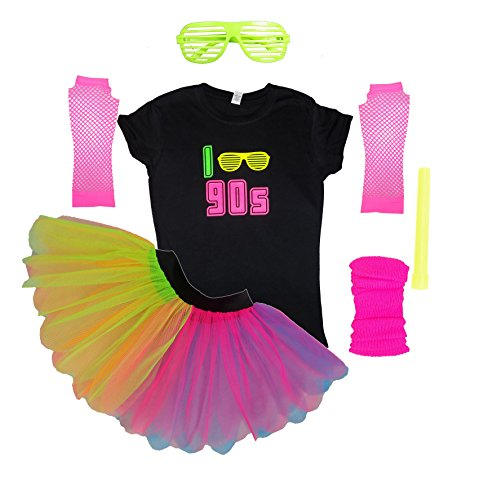 I Love the 90s Neon Tutu Set Skirt for Raver Look. S to 3XL