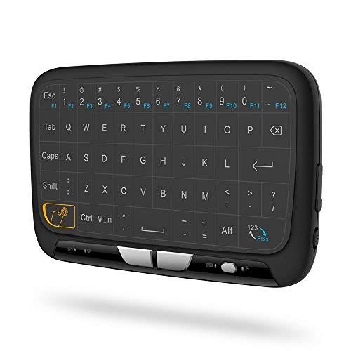 H18 Multifunktionale 2,4-GHz-Wireless-Mini-Tastatur mit ganzen Panel-Touchpad-Mäusekombinationen, wiederaufladbare Li-Ion-Akku-Fernbedienung für PC, Xbox 360, Android TV-Box, Computer, Laptop PC-Gamin