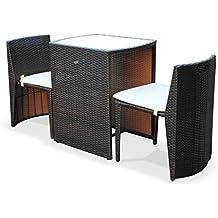 Alice's Garden - Conjunto de mesa y sillas de jardin ratan sintetico - Chocolate / marron, cojines crudo - 2 plazas, una messa y 2 sillas - DOPPIO