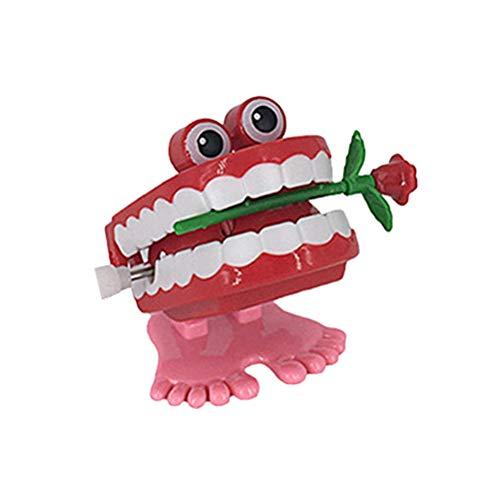 Zähne mit Augen Füße vibrierend Gehen Neuheit Springen Toys (Rose) ()