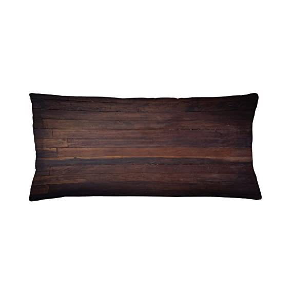 Ambesonne Chocolate Throw Pillow Cushion Cover, Aged Weathered Dark Timber Oak Wooden Planks Floor Image Country Life Carpentry, Decorative Square Accent Pillow Case, 36 X 16 inches, Dark Brown
